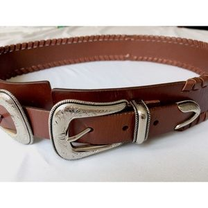 Brown Double Buckle Western Leather Belt M/L -NWOT